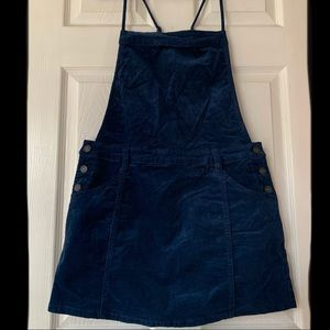 FreePeople faux corduroy navy overall dress EUC